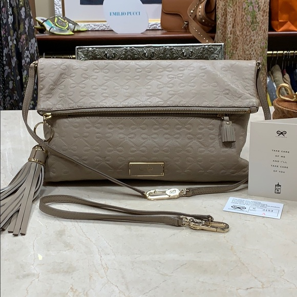 Anya Hindmarch Handbags - ANYA HINDMARCH SIGNATURE EMBOSSED TAUPE LEATHER